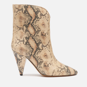 Isabel Marant Women's Leinee Leather Python Printed Heeled Boots - Nude
