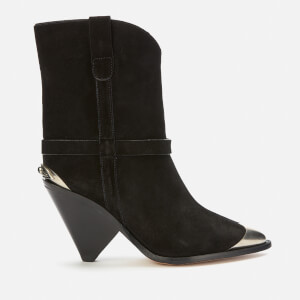 Isabel Marant Women's Lamsy Suede Heeled Ankle Boots - Black