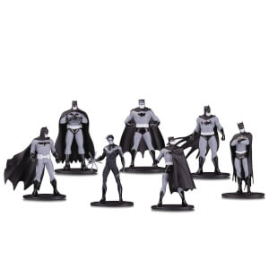 DC Collectibles Batman Black & White Mini PVC Figure 7 Pack Set 1