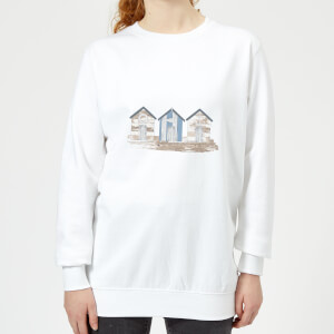 Candlelight Wooden Beach Hut Women's Sweatshirt - White