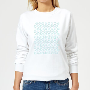 Candlelight Cartoon Pansy Repeat Pattern Women's Sweatshirt - White