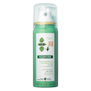 Klorane Dry Shampoo with Nettle with Natural Tint Travel Size - Oil Control for Dark Hair 1oz