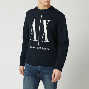 Armani Exchange Men's Large AX Logo Sweatshirt - Navy