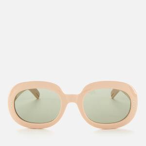 Gucci Women's Oval Frame Acetate Sunglasses - White/Green