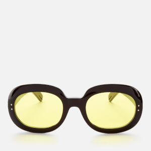 Gucci Women's Oval Frame Acetate Sunglasses - Black/Yellow