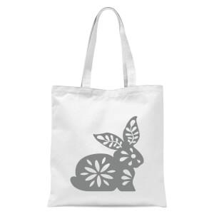 Folk Silhouette Rabbit Cutout Tote Bag - White