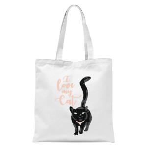 I Love My Cat Black Cat Tote Bag - White