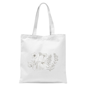 Wild Flower Line Art Tote Bag - White