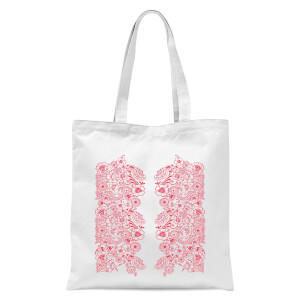 Elegant Floral Pattern Tote Bag - White
