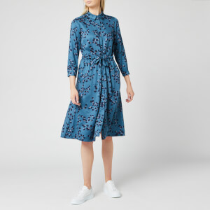 Joules Women's Winslet Long Sleeve Shirt Dress - Teal Blossom