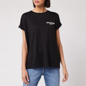 Balmain Women's Short Sleeve Flocked Logo Detail T-Shirt - Black