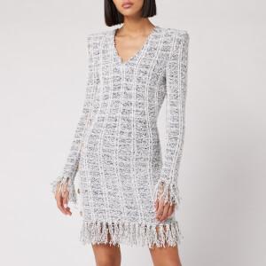 Balmain Women's Short Long Sleeve Fringed Tweed Wrap Dress - Black/White