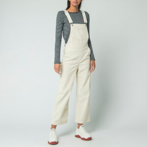 Levi's Women's Ribcage Crop Overall Dungarees - Ecru Wide Wale