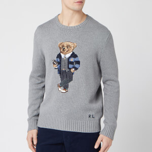 Polo Ralph Lauren Men's Bear Logo Crew Knit Jumper - Grey Heather