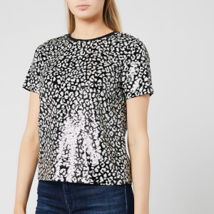 MICHAEL MICHAEL KORS Women's Lux Cat Sequin Baby T-Shirt - Black/Bone