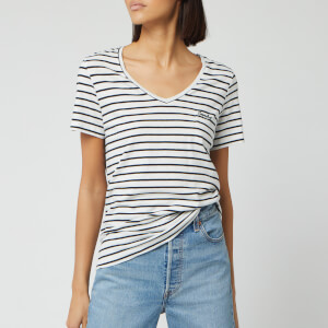 Superdry Women's Ol Essential V-Neck T-Shirt - Off White Stripe