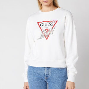 Guess Women's Basic Triangle Embellished Sweatshirt - True White