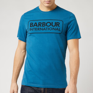 Barbour International Men's Essential Large Logo T-Shirt - Aqua/Black