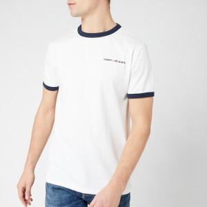 Tommy Jeans Men's Ringer Logo T-Shirt - Classic White/Black Iris