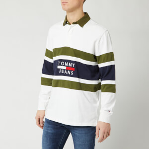 Tommy Jeans Men's Panel Rugby Top - Classic White/Cypress