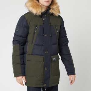 Superdry Men's Rookie Colour Block Down Parka - Dark Navy