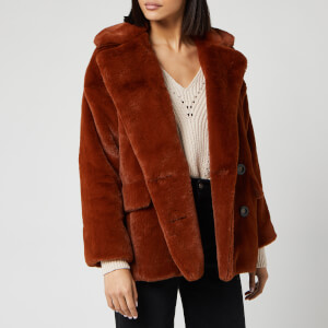 Free People Women's Solid Kate Faux Fur Coat - Terracotta