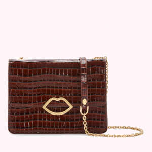 Lulu Guinness Women's Cut Out Lip Croc Polly Shoulder Bag - Chocolate