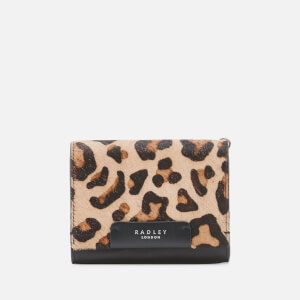 Radley Women's Arlington Court - Faux Leopard Medium Flapover Purse - Black