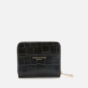 Aspinal of London Women's Mini Deep Shine Croc Continental Purse - Black