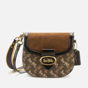 Coach 1941 Women's Coated Canvas Mixed Leather Kat Saddle Bag 20 - Brown/Black