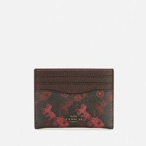 Coach 1941 Women's Coated Canvas Flat Card Case - Black/Oxblood