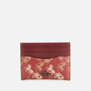 Coach 1941 Women's Coated Canvas Flat Card Case - Red