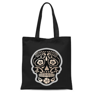 Day Of The Dead Skull Tote Bag - Black