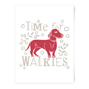 Time For Walkies Cutout Sausage Dog Art Print