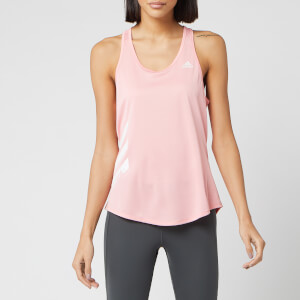 adidas Women's Run It 3 Stripe Tank Top - Glory Pink