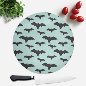Black And Blue Bat Pattern Round Chopping Board