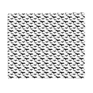 Black And White Bat Pattern Fleece Blanket