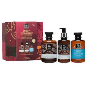APIVITA Hair and Body Pure Jasmine Shower Gel, Body Milk and Holistic Moisturizing Shampoo Gift Set