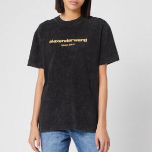 Alexander Wang Women's Acid Wash Short Sleeve T-Shirt with Logo Embroidery - Acid Black
