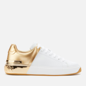 Balmain Women's B-Court Leather/Mirror Low Top Trainers - White/Gold