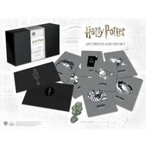 Harry Potter Collectable Glow In The Dark Pin Badge And Art Cards