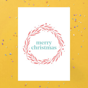 Merry Christmas Wreath Greetings Card