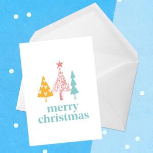Merry Christmas Trees Greetings Card