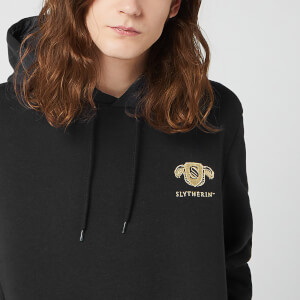 Harry Potter Slytherin Unisex Embroidered Hoodie - Black