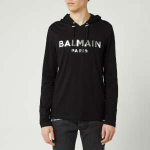 Balmain Men's Hooded Mirror Long Sleeve T-Shirt - Noir