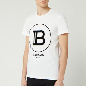 Balmain Men's Large Coin Flock T-Shirt - Blanc