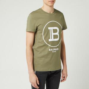 Balmain Men's Large Coin Flock T-Shirt - Khaki