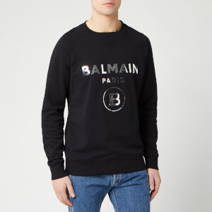 Balmain Men's Silver Mirror Sweatshirt - Noir
