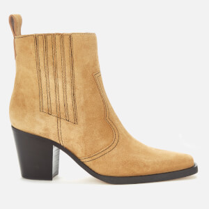 Ganni Women's Western Suede Heeled Boots - Tannin