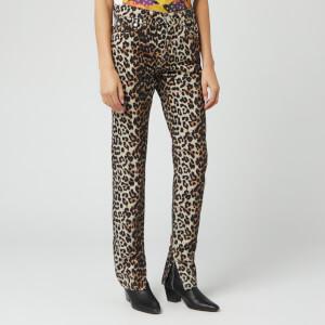 Ganni Women's Print Denim Jeans - Leopard